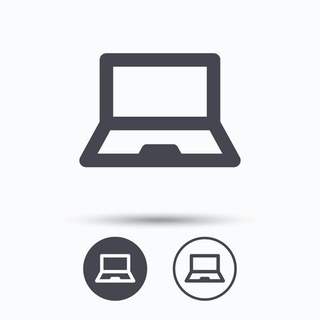ultrabook: Computer icon. Notebook or laptop pc symbol. Circle buttons with flat web icon on white background. Vector Illustration
