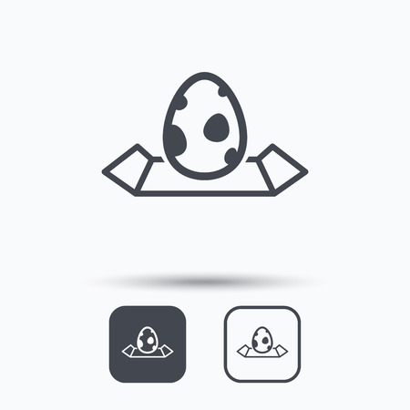 dinosaur egg: Dinosaur egg icon. Location map symbol. Pokemon egg concept. Square buttons with flat web icon on white background. Vector Illustration