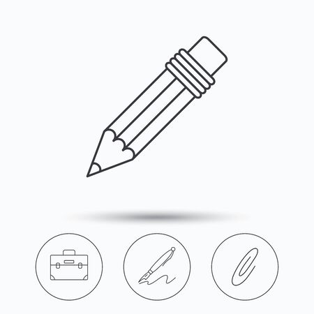 safety circle: Briefcase, pencil and safety pin icons. Pen linear sign. Linear icons in circle buttons. Flat web symbols. Vector
