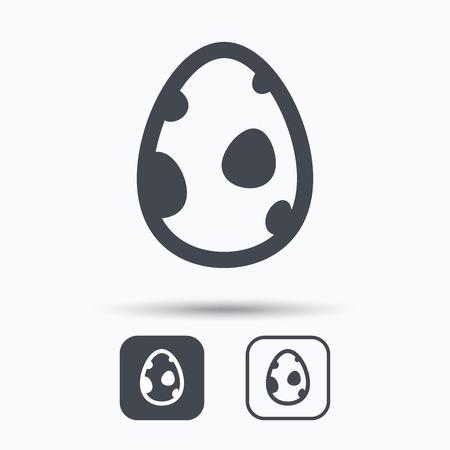 dinosaur egg: Dinosaur egg icon. Birth symbol. Pokemon egg concept. Square buttons with flat web icon on white background. Vector Illustration