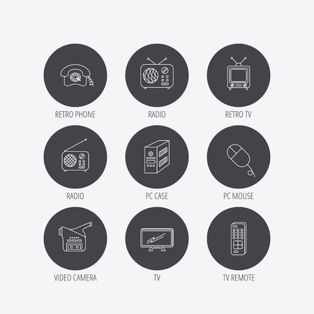 pc case: Radio, TV remote and video camera icons. Retro phone, PC case and mouse linear signs. Linear icons in circle buttons. Flat web symbols. Vector Illustration