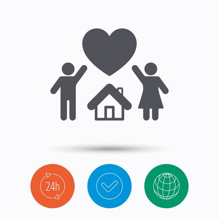 happy couple house: Family icon. Father, mother and child symbol. Check tick, 24 hours service and internet globe. Linear icons on white background. Vector