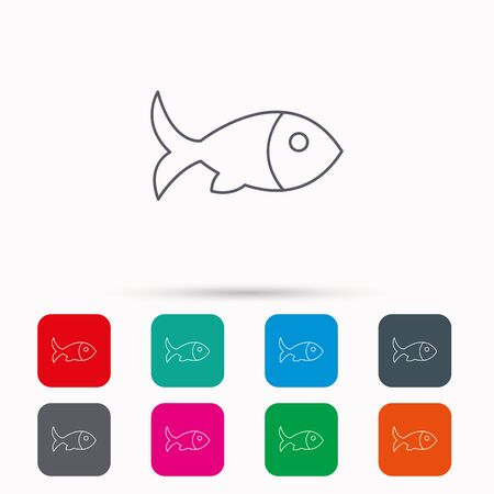 aquaculture: Fish with fin icon. Seafood sign. Vegetarian food symbol. Linear icons in squares on white background. Flat web symbols. Vector