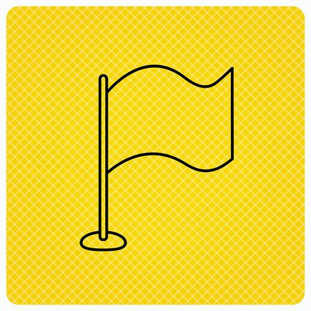 Waving flag icon. Location pointer sign. Linear icon on orange background. Vector Illustration