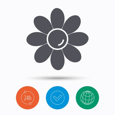 Flower icon. Florist plant with petals symbol. Check tick, 24 hours service and internet globe. Linear icons on white background. Vector