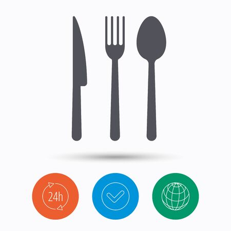 Fork, knife and spoon icons. Cutlery symbol. Check tick, 24 hours service and internet globe. Linear icons on white background. Vector Illustration