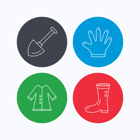 agronomy: Shovel, boots and gloves icons. Cloak linear sign. Linear icons on colored buttons. Flat web symbols. Vector