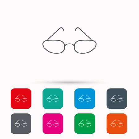 glasses icon: Glasses icon. Reading accessory sign. Linear icons in squares on white background. Flat web symbols. Vector