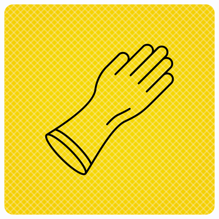 rubber gloves: Rubber gloves icon. Latex hand protection sign. Housework cleaning equipment symbol. Linear icon on orange background. Vector