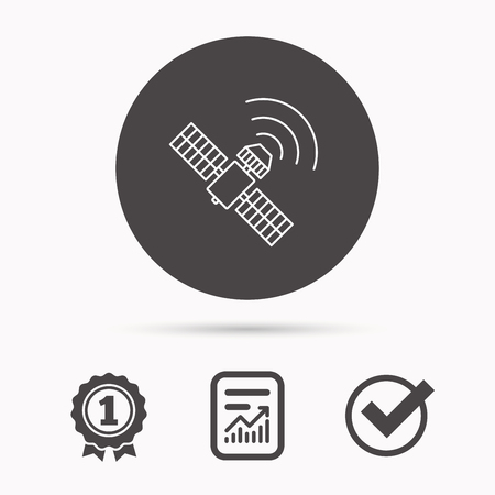 satellite navigation: GPS icon. Satellite navigation sign. Report document, winner award and tick. Round circle button with icon. Vector Illustration