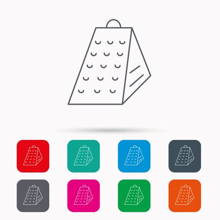 slicer: Grater icon. Kitchen tool sign. Kitchenware slicer symbol. Linear icons in squares on white background. Flat web symbols. Vector Illustration
