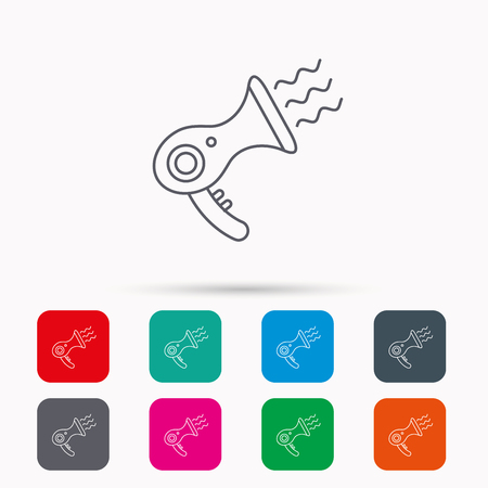 air diffuser: Hairdryer icon. Electronic blowdryer sign. Hairdresser equipment symbol. Linear icons in squares on white background. Flat web symbols. Vector Illustration