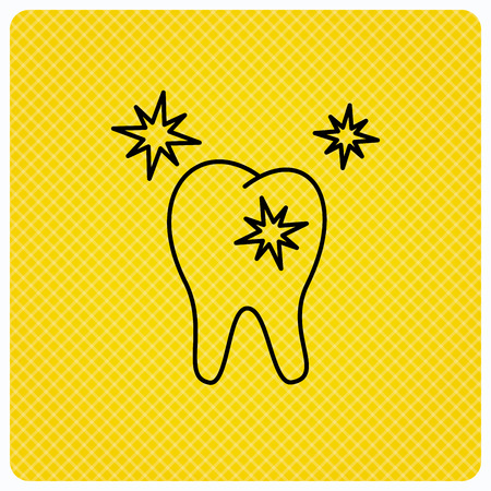 Healthy tooth icon. Dental protection sign. Linear icon on orange background. Vector Illustration