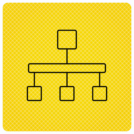 hierarchy: Hierarchy icon. Organization chart sign. Database symbol. Linear icon on orange background. Vector