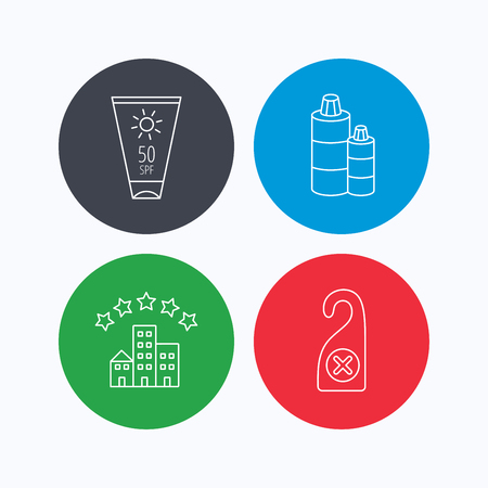 5 door: Hotel, shampoo and sun cream icons. Do not disturb linear sign. Linear icons on colored buttons. Flat web symbols. Vector