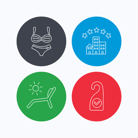 5 door: Hotel, lingerie and beach deck chair icons. Clean room linear sign. Linear icons on colored buttons. Flat web symbols. Vector