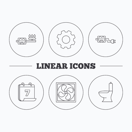 sewerage: Ventilation, toilet and gas counter icons. Electricity counter linear sign. Flat cogwheel and calendar symbols. Linear icons in circle buttons. Vector Illustration