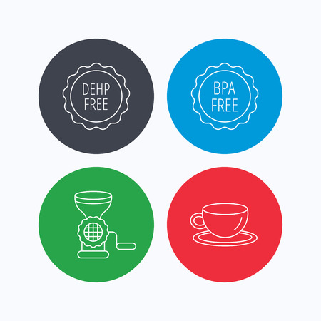 bpa: Coffee cup, meat grinder and BPA free icons. DEHP free linear sign. Linear icons on colored buttons. Flat web symbols. Vector