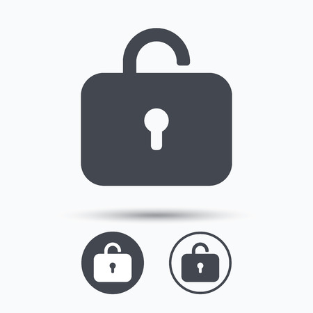 private access: Lock icon. Privacy locker sign. Private access symbol. Circle buttons with flat web icon on white background. Vector
