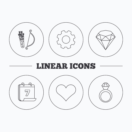 brilliant heart: Love heart, brilliant and engagement ring icons. Valentine bow linear sign. Flat cogwheel and calendar symbols. Linear icons in circle buttons. Vector