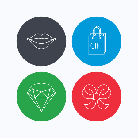 brilliant: Lips kiss, brilliant and gift icons. Bow-knot linear sign. Linear icons on colored buttons. Flat web symbols. Vector Illustration