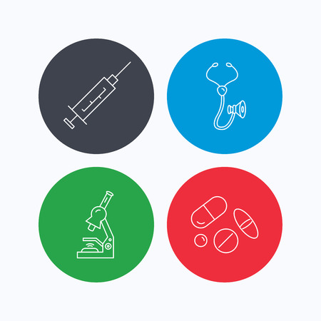 pathology pharmacy: Syringe, stethoscope and microscope icons. Medical pills linear sign. Linear icons on colored buttons. Flat web symbols. Vector