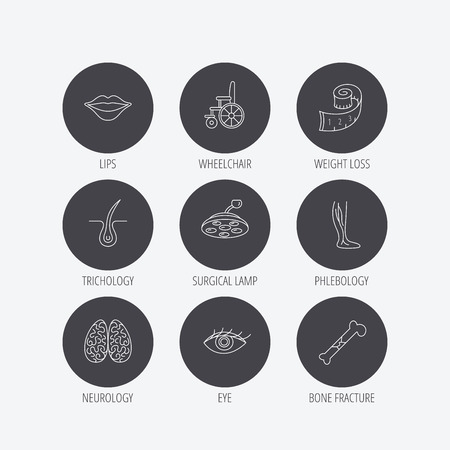 vision loss: Eye, neurology brain and vein varicose icons. Wheelchair, bone fracture and trichology linear signs. Weight loss, lips and surgical lamp icons. Linear icons in circle buttons. Flat web symbols. Vector