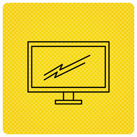 widescreen: PC monitor icon. Led TV sign. Widescreen display symbol. Linear icon on orange background. Vector