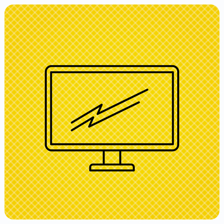 led display: PC monitor icon. Led TV sign. Widescreen display symbol. Linear icon on orange background. Vector
