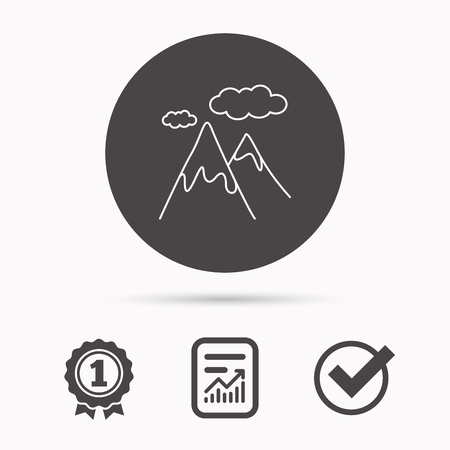 extreme terrain: Mountain icon. Hills and clouds sign. Climbing travel symbol. Report document, winner award and tick. Round circle button with icon. Vector Illustration