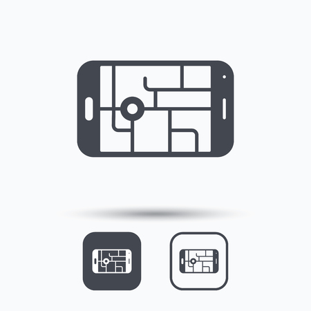 gps device: Gps street navigation icon. Smartphone device symbol. Pokemon egg concept. Square buttons with flat web icon on white background. Vector Illustration