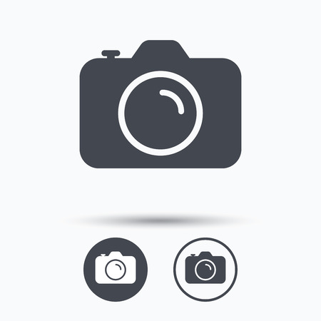 photocamera: Camera icon. Professional photocamera symbol. Circle buttons with flat web icon on white background. Vector Illustration