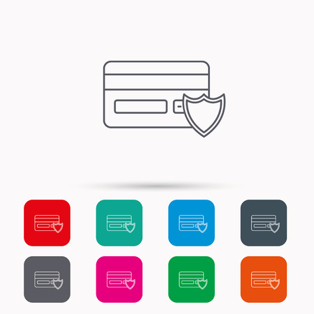secure icon: Protection credit card icon. Shopping sign. Linear icons in squares on white background. Flat web symbols. Vector