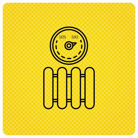 Heizkörper mit Regler-Symbol. Heater Zeichen. Maximale Temperatur. Linear-Symbol auf orange Hintergrund. Vektor