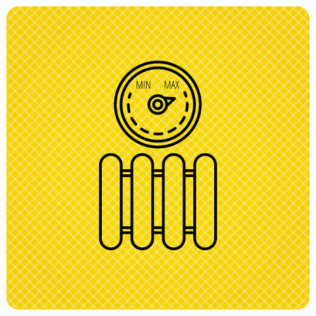 Radiator with regulator icon. Heater sign. Maximum temperature. Linear icon on orange background. Vector Illustration