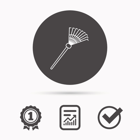gardening  equipment: Rake icon. Gardening equipment sign. Outdoor instrument symbol. Report document, winner award and tick. Round circle button with icon. Vector