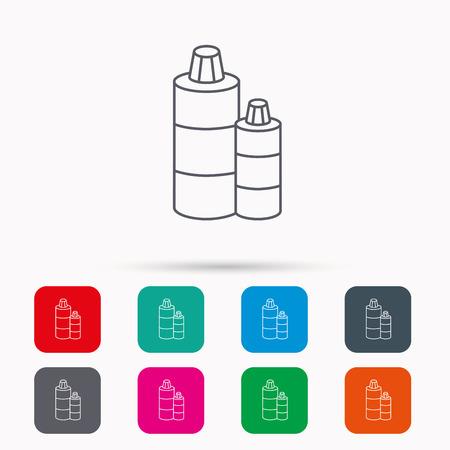 shampoo bottles: Shampoo bottles icon. Liquid soap sign. Linear icons in squares on white background. Flat web symbols. Vector