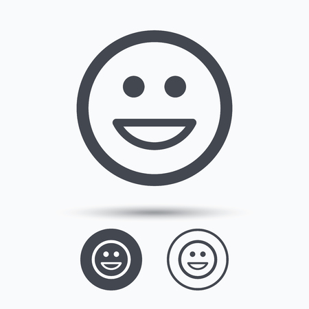 laugh emoticon: Happy smile icon. Smiley laugh emoticon symbol. Circle buttons with flat web icon on white background. Vector