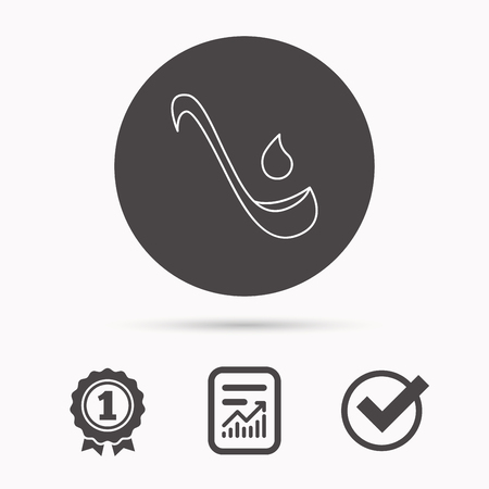 soup spoon: Soup ladle icon. Kitchen spoon sign. Report document, winner award and tick. Round circle button with icon. Vector