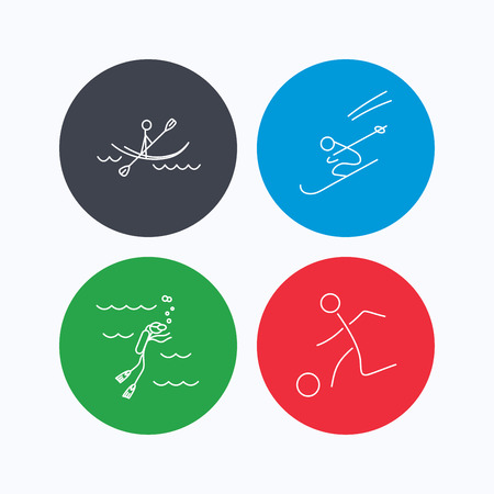 water skiing: Diving, football and skiing icons. Kayaking linear sign. Linear icons on colored buttons. Flat web symbols. Vector Illustration