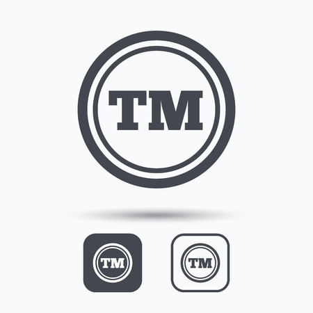 tm: Registered TM trademark icon. Intellectual work protection symbol. Square buttons with flat web icon on white background. Vector