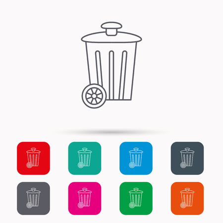 trash container: Recycle bin icon. Trash container sign. Street rubbish symbol. Linear icons in squares on white background. Flat web symbols. Vector