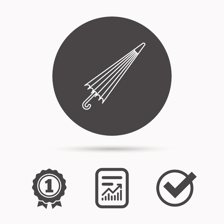 weather report: Umbrella icon. Water protection sign. Rainy weather symbol. Report document, winner award and tick. Round circle button with icon. Vector