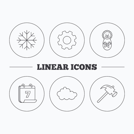 air hammer: Newborn, cloud and snowflake icons. Hammer linear sign. Flat cogwheel and calendar symbols. Linear icons in circle buttons. Vector