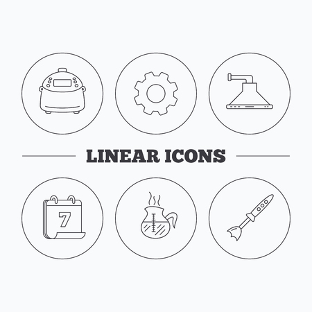 coffee blender: Coffee, kitchen hood and blender icons. Multicooker linear sign. Flat cogwheel and calendar symbols. Linear icons in circle buttons. Vector