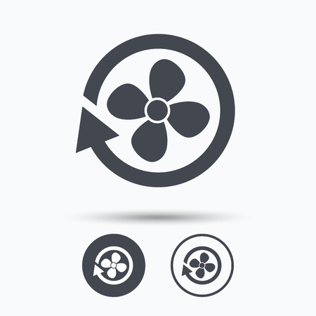 turbine engine: Ventilation icon. Air ventilator or fan symbol. Circle buttons with flat web icon on white background. Vector Illustration