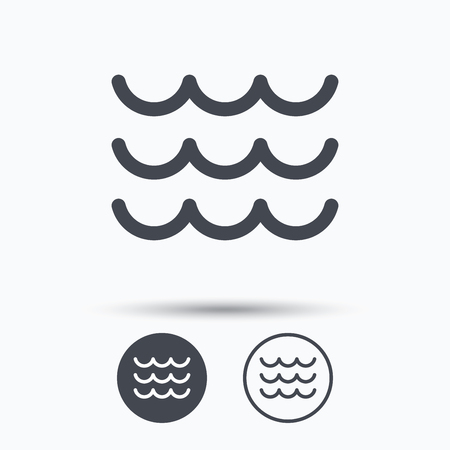 water stream: Wave icon. Water stream symbol. Circle buttons with flat web icon on white background. Vector