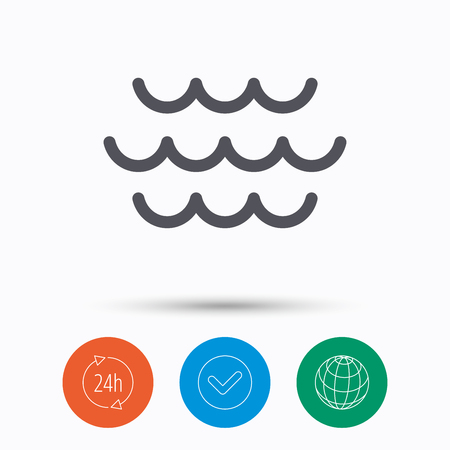 water quality: Wave icon. Water stream symbol. Check tick, 24 hours service and internet globe. Linear icons on white background. Vector