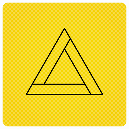 emergency sign: Emergency sign icon. Caution triangle sign. Linear icon on orange background. Vector