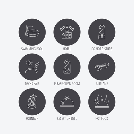 5 door: Hotel, swimming pool and beach deck chair icons. Reception bell, restaurant food and airplane linear signs. Do not disturb and clean room flat line icons. Linear icons in circle buttons. Flat web symbols. Vector Illustration
